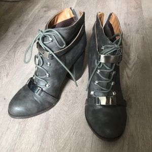 Shoes - Dark gray lace up booties